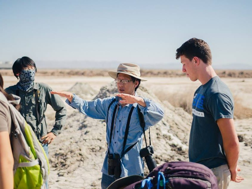 Talking about mud volcanoes in the Salton Sea. Emily Paine, Detao He, Cin-Ty Lee, Josh Crozier.