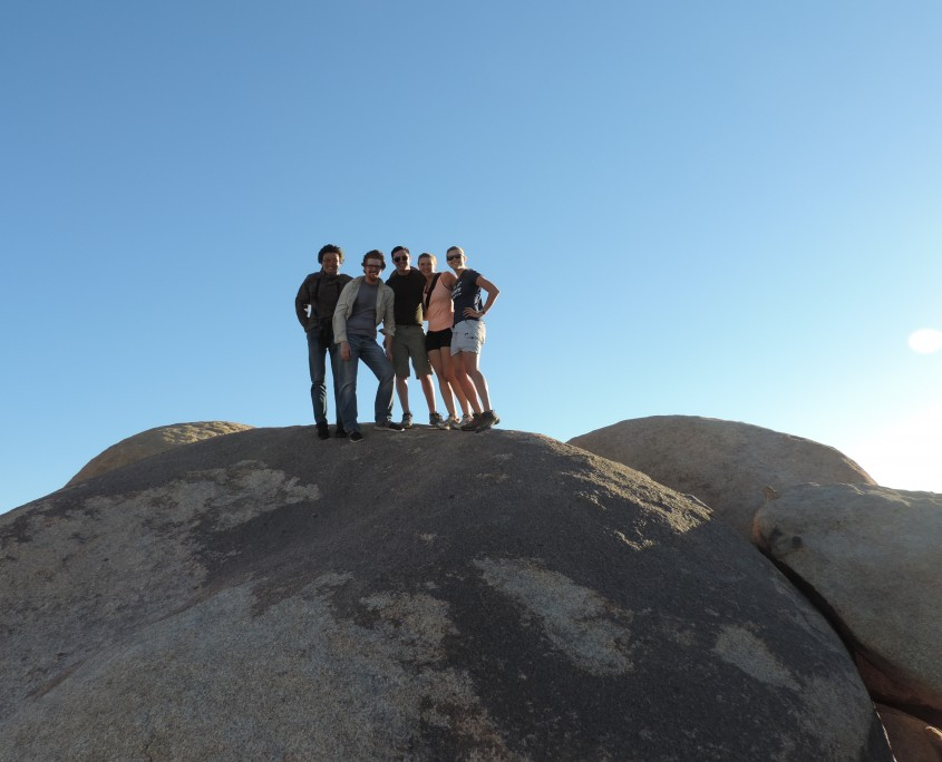 On top of a boulder in Joshua Tree National Park. L to R: Detaho He, Michale Farner, Evan Neustater, Kate Nicholson, Elizabeth Finlay.